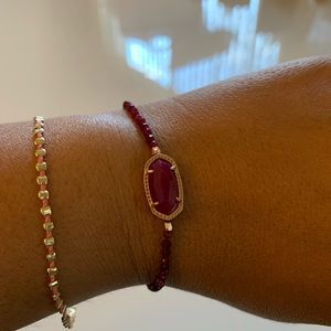 Kendra Scott Rose Gold Beaded Bracelet-Maroon Jade